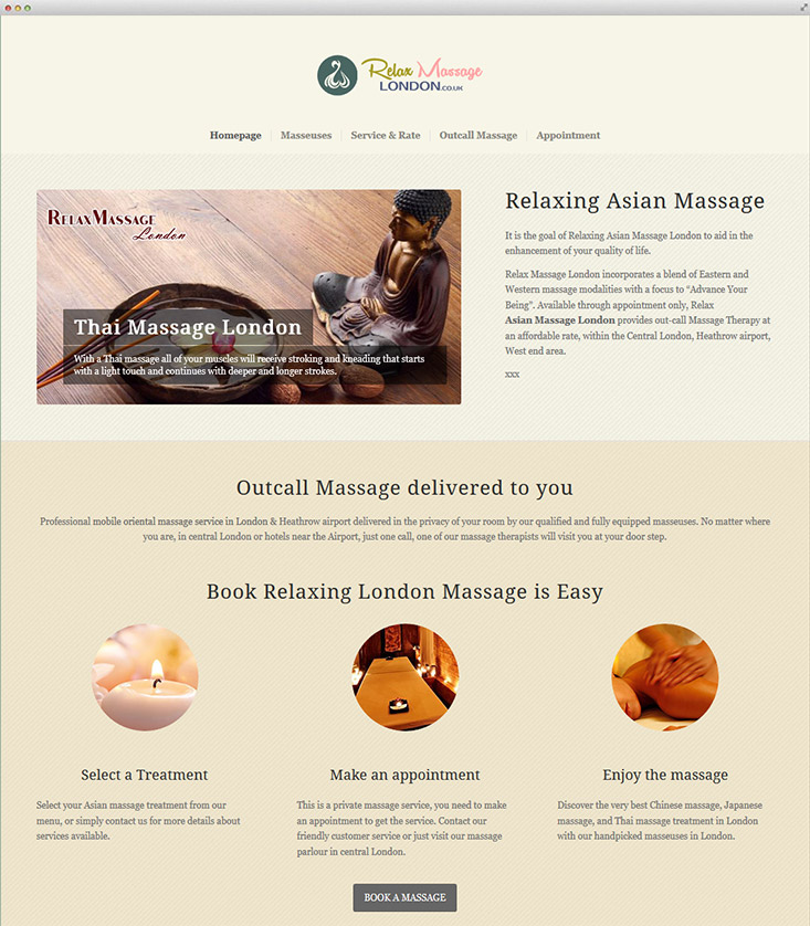 London Relaxing Massage Website Design